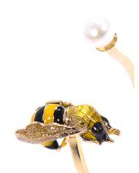 Delfina Delettrez   Yellow Pearl Enamel and Gold Bee Ring   Lyst