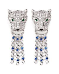 CZ by Kenneth Jay Lane | Metallic Cubic Zirconia Pavé Leopard Head Earrings | Lyst