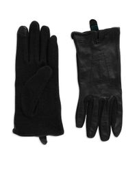 Lauren by Ralph Lauren | Black Leather Touch Gloves | Lyst