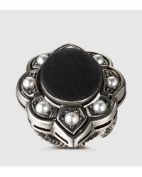 Gucci | Black Ring With Velvet And Crystals | Lyst