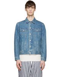 A.P.C. - Blue Denim Varsity Jacket for Men - Lyst