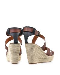Lanvin | Brown Leather Wedge Sandals | Lyst