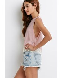 Forever 21 | Pink Crochet-trimmed Muscle Tee | Lyst