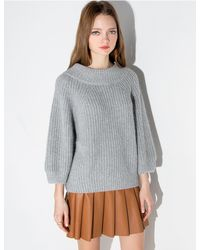 Pixie Market - Gray Grey Puffy Sleeve Sweater - Lyst