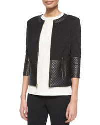 St. John - Black Contrast Leather Jacket - Lyst