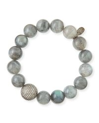 Sheryl Lowe | Metallic 12mm Labradorite & Pave Diamond Bead Bracelet | Lyst