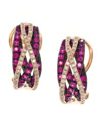 Effy | Red Ruby, Diamond And 14k Rose Gold Earrings | Lyst
