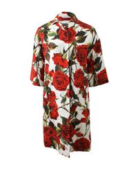 Dolce & Gabbana | White Rose Coat | Lyst
