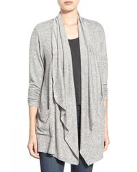 Bobeau - Gray Two-pocket Drape Front Cardigan - Lyst