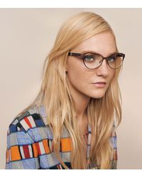 Tory Burch - Brown Metal & Wood Eyeglasses - Lyst