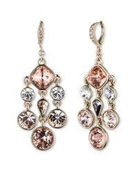 Givenchy | Metallic Gold-Tone Pink Crystal Chandelier Earrings | Lyst