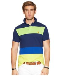 Polo Ralph Lauren | Blue Custom-fit Colorblocked Mesh Polo for Men | Lyst