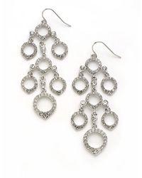 ABS By Allen Schwartz | Metallic Crystal Encrusted Chandelier Earrings | Lyst