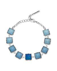 T Tahari | Metallic Silvertone Blue Stone Linked Flex Bracelet | Lyst