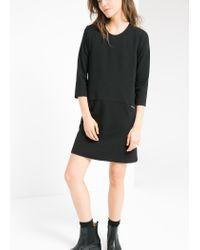 Mango - Black Zip Shift Dress - Lyst