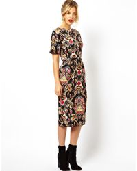 ASOS | Multicolor Wiggle Dress In Baroque Print | Lyst