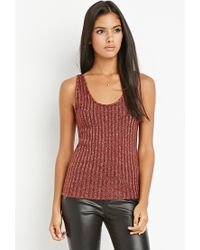 Forever 21 | Purple Metallic Ribbed Knit Top | Lyst