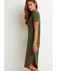 Forever 21 | Green Ribbed High-slit Midi Dress | Lyst