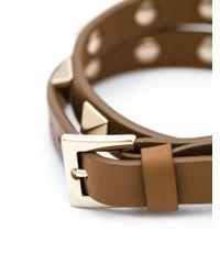 Valentino - Brown 'rockstud' Double Bracelet Or Choker - Lyst