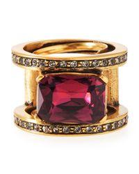 Oscar de la Renta | Red Octagon Crystal Band Ring | Lyst
