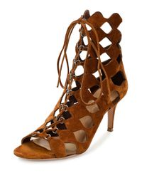 Gianvito Rossi - Brown Cut-Out Suede Sandals - Lyst