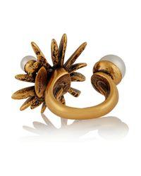 Oscar de la Renta - Metallic Starburst Gold-Plated Faux Pearl Ring - Lyst