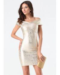Bebe | Metallic Brushed Foil Bandage Dress | Lyst