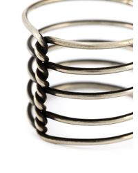 Ann Demeulemeester | Metallic Twisted Multi Band Ring | Lyst