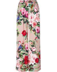 Dolce & Gabbana - Pink Printed Palazzo Pants - Lyst