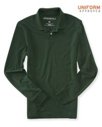 Aéropostale | Green Long Sleeve Solid Uniform Piqué Polo for Men | Lyst