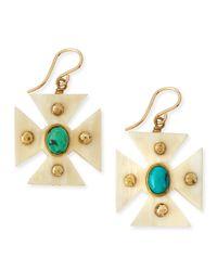 Ashley Pittman | Blue Araba Light Horn Turquoise Maltese Cross Earrings | Lyst