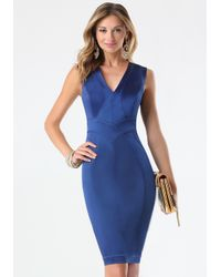 Bebe | Blue Tiana Paneled Dress | Lyst