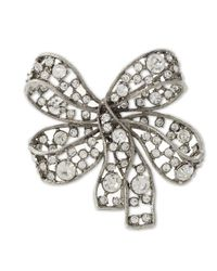 Kenneth Jay Lane - White Light Antique Silver Crystal Bow Brooch - Lyst