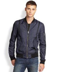 BLK DNM - Blue Nylon Bomber Jacket for Men - Lyst