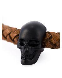 Alexander McQueen - Brown Woven Skull Bracelet - Lyst