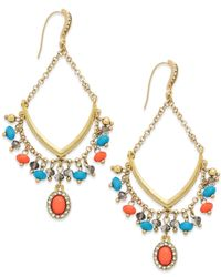 INC International Concepts - Multicolor Gold-tone Coral And Turquoise Bead Gypsy Drop Earrings - Lyst