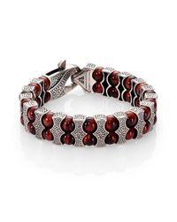 Stephen Webster | Red Oxidized Silver & Bull's Eye Beaded Bracelet for Men | Lyst