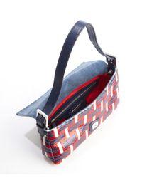 Fendi - Blue Navy Leather Multi-Color Sequin Accent Mini Baguette Shoulder Bag - Lyst