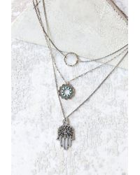 Urban Outfitters - Metallic Hamsa Charm Triple-layer Necklace - Lyst