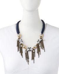 Lydell NYC | Blue Rhinestone & Pearly Bead Tassel Bib Necklace | Lyst