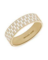Michael Kors - Metallic Goldtone Monogram Hinge Bangle Bracelet - Lyst
