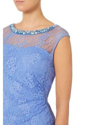 Shubette | Blue Sweetheart Neck Dress With Lace Overlay | Lyst