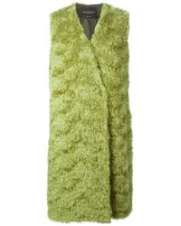 Erika Cavallini Semi Couture - Green Longline Fur Vest - Lyst