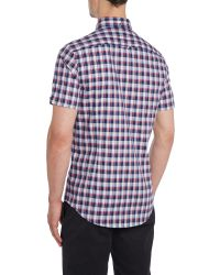 Ben Sherman | Blue Check Slim Fit Short Sleeve Button Down Shirt for Men | Lyst