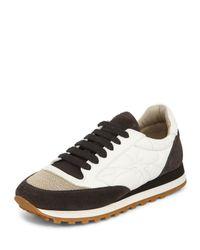 Brunello Cucinelli - Black Monili Cap-toe Leather Sneaker - Lyst