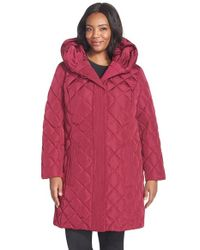 Gallery | Purple Pillow Hood Quilted Down & Feather Fill A-line Coat | Lyst
