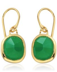 Monica Vinader - Metallic Gold Vermeil Green Onyx Siren Wire Earrings - Lyst