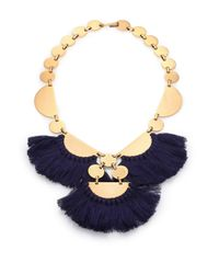 Tory Burch | Blue Fringe Disc Bib Necklace | Lyst