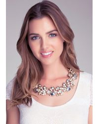 Bebe - Metallic Multi-stone Floral Necklace - Lyst
