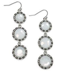 INC International Concepts - Metallic Silver-tone Pavé Triple Stone Linear Earrings - Lyst